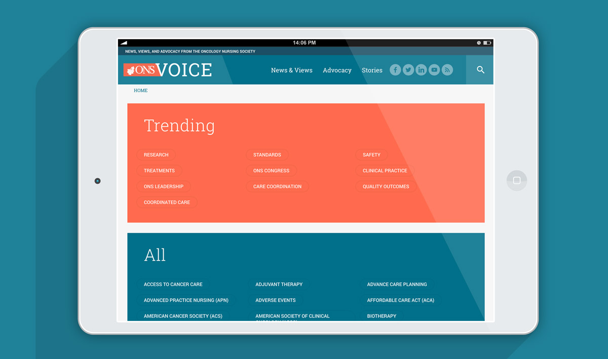 ONS Voice website tablet view